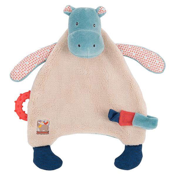 Doudou attache-tétine Hippopotame Les Papoum