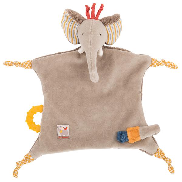 Doudou attache-tétine éléphant Les Papoum