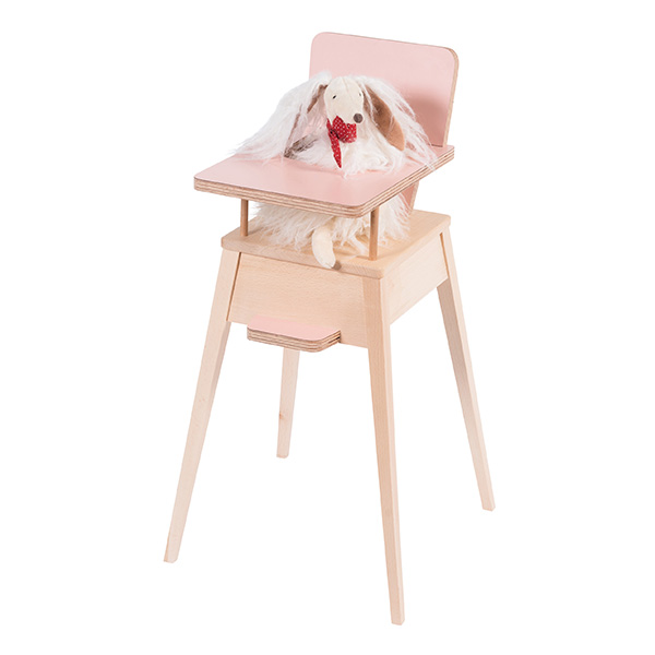 Chaise haute rose formica Les Coquettes Moulin Roty