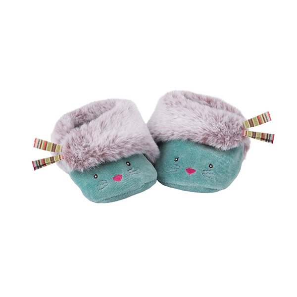 Chaussons bleus chat Les Pachats Moulin Roty