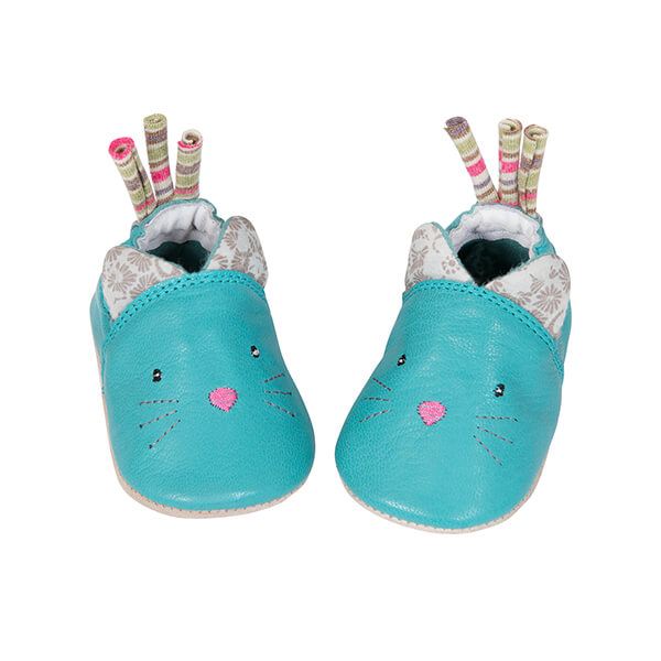 Chaussons cuir chat Les Pachats Moulin Roty