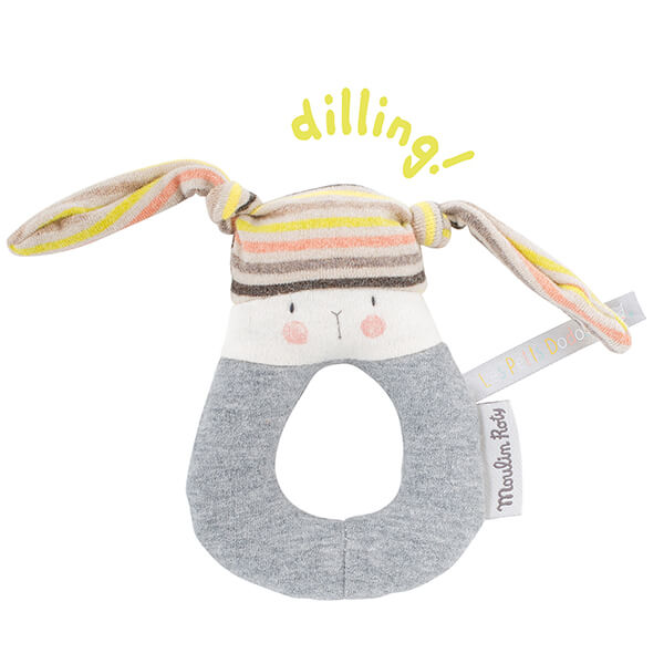 Anneau hochet lapin rayé Les Petits Dodos Moulin Roty