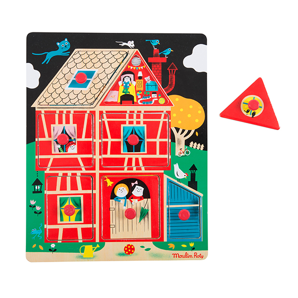 Puzzle encastrable maison Les Bambins Moulin Roty