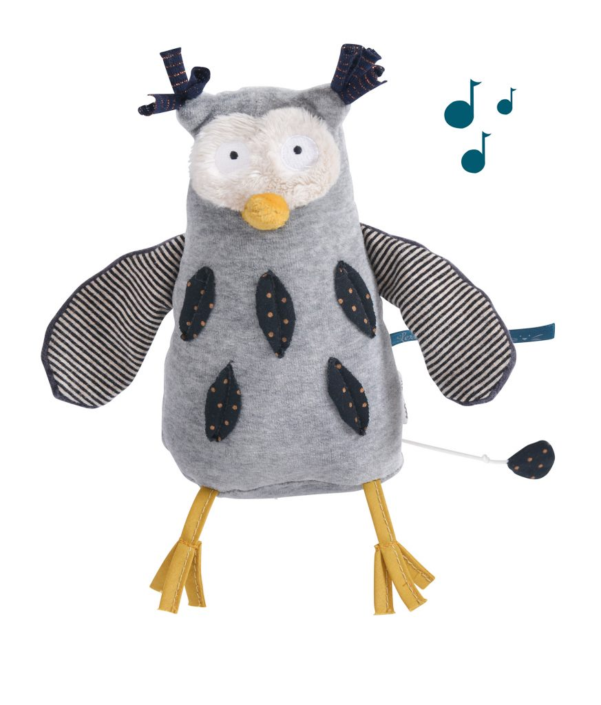 Peluche musicale chouette de la collection Les Moustaches