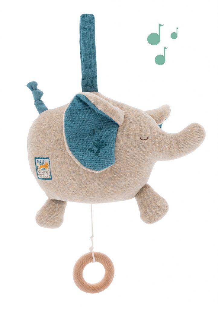 Peluche musicale éléphant Sous Mon Baobab de Moulin ROTY