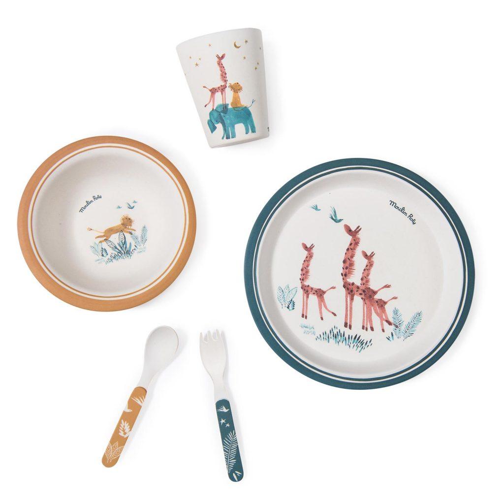 Set de vaisselle en bambou de la collection Sous Mon Baobab de Moulin Roty
